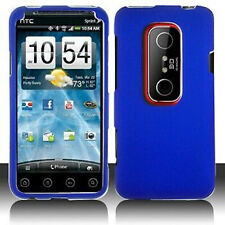 Blue Rubberized Hard Shell Case Phone Cover HTC EVO 3D