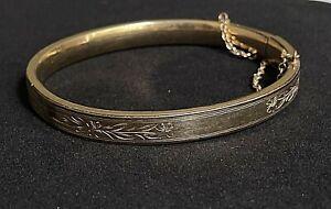 """Vintage 12k Gold Filled Flower Etched Hinged Bracelet MARKED 7"""" P10"""