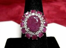 KHR 925 STERLING SILVER GENUINE RUBY & CRYSTALS FLOWER CLUSTER RING SIZE 8.5