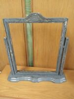 """Antique ART DECO Painted Silver Carved WOOD SWIVEL Tilt Picture FRAME 8"""" x 10"""""""