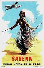 Original vintage luggage label SABENA AFRICAN DANCER c.1950