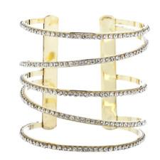 Spiral Open End Cuff Bracelet Lux Accessories goldtone Pave Rhinestone Cutout