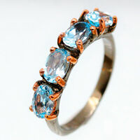 Anniversary Wedding Natural Blue Topaz .925 Sterling Silver Fine Ring / RVS183
