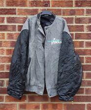 Vintage Noir Gris Veste Laine en cuir synthétique Manteau d'aviateur de marque Oversize XL