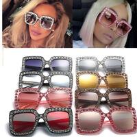 Hot Oversized Square Frame Bling Rhinestone Sunglasses Women Fashion Shades 2018