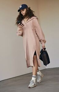 Free People Movement Maxi Sweatshirt Dress Hoodie Spur Of The Moment Pink M NWT