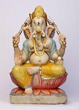 Ganesha statue ancienne en marbre Dieu hindou 35,5 kilos Fait main Inde Ganesh