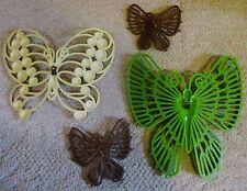 Vintage Retro 1970's Burwood Plastic Wall Hanging Plaques Butterflies Lot Decor