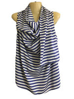 Rosetta Getty Sz 6 silk white blue striped sleeveless scarf blouse top GUC