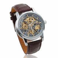 Classic Men's Automatic Mechanical Leather Band Skeleton Sport Gift Wrist watch