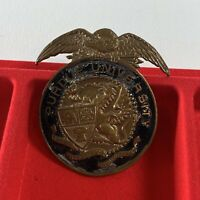 Antique Purdue University Hat Badge Band Uniform Brass Enamel