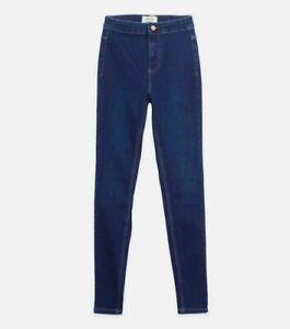 Ladies New Look Hallie High Waist Super Skinny Jeans Dark Blue Size 8 10 12 B151
