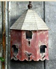 "OCTAGON Birdhouse RED Farmhouse Bird house Country Charm Galvanized Metal 19""H"