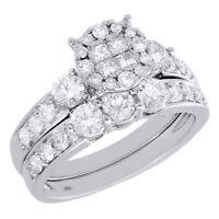 14K White Gold Princess Cut Diamond Engagement Ring 3 Stone Wedding Band 1.50 Ct
