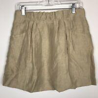 J Crew Skirt Size 2 XS Tan Charter Linen Pockets Lined Pleated Mini Khaki Beige