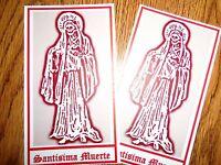 SANTISIMA MUERTE PRAYER CARDS set of 2 RED ASPECT card santa HOLY DEATH $$$ LOVE