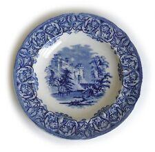 "WARWICK CAULDON ENGLAND BLUE CASTLE SCENE PORCELAIN PLATE ~9"""
