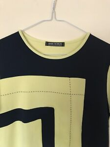 Ann Marie Women Yellow Navy Striped short Sleeve Knit Top Size14