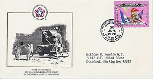 SALVADOR, EL 1976 FIRST DAY COVER - AMERICAN BICENTENNIAL - FLAGS, TORCH, MAP