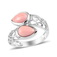 925 Sterling Silver Platinum Over Peach Opal Ring Jewelry Gift Ct 1.9