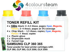4x 100 G ricarica Toner Reset Chip Per Samsung Clp 360 365 CLX 3300 3305 CLP360
