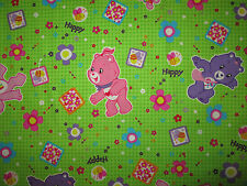 CARE BEARS OVERALL PRINT COTTON FABRIC FQ OOP