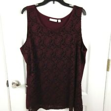 Susan Graver Womens Red Lace Front Sleeveless Tank Top Size 3X