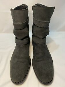 COLE HAAN Air C08911 Black Gray Suede  Pull On Dbl Buckle Boots Men's Size 9.5