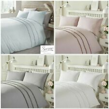 Serene Tassels Easy Care Duvet Cover Bedding Set Blush, Grey, White Or Duck egg