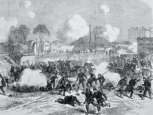 1871 Print FRANCE CIVIL WAR - INSIDE THE PORTE MAILLOT Franco Prussian War
