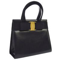 Auth Salvatore Ferragamo Vara Bow Hand Bag Black Leather Italy Vintage  AK29727 a0c10a6641