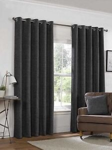 Belle Maison Yale Grey Lined Eyelet Ring Curtains Heavy Chenille Fabric #7 SIZES
