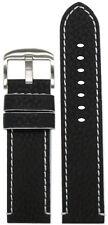 26mm Panatime Black Crushed Leather Grain Watch Band w White Stitching & Siding