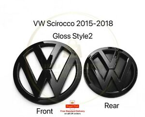 VW Volkswagen Scirocco MK3 Gloss Black Badge Front and Rear 2015-2018