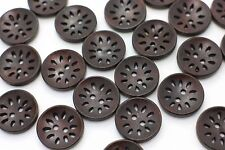 Dark Brown Two Holes Flower Filigree Wood Button Natural Brown Wooden 20mm 20pcs