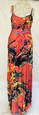 Miss Me Multicoloured Sweetheart Neck Creased Sleeveless Maxi Dress Size 12