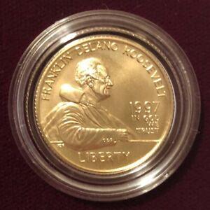 1997 W $5 GOLD FDR Roosevelt BU Uncirculated / With Original Box & COA
