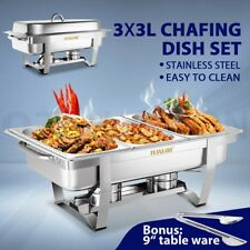 9L Bain Marie Bow Chafing Dish 3Lx3 Stainless Steel Food Buffet Warmer Stackable