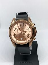 MICHAEL KORS MK5503 Women Black Leather Analog Rose Gold Dial Quartz Watch KG444