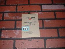 GENUINE HILLMAN 14 OWNERS MANUAL /INSTRUCTION HANDBOOK . 1938.