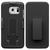 For Samsung Galaxy S7 Edge - Combo Shell Case w Kick-stand Swivel Clip Holster