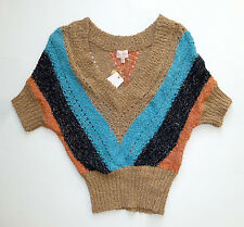 NWT Brown, Blue, Black & Orange Striped Pullover Sweater by Tracy Reese - SZ S