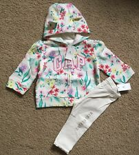 Baby Girl 6-12 Month Baby Gap Floral Arch Logo Hoodie & Leggings Outfit