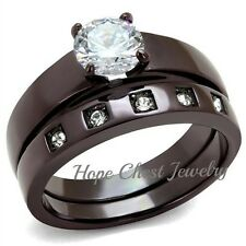 Cz Engagement Wedding Set Size 5 - 10 Dark Brown Stainless Steel 1 Ct Round Cut
