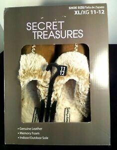 Secret Treasures Wm Brown Suede Faux Fur Memory Foam ClogSlippers Sz11/12 NO BOX