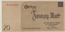 getto litzmannstadt BILLETE DE UN DÓLAR PARA 20 Marco 1940 No.222880 Dinero