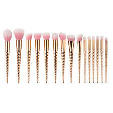 Mermaid Unicorn Rose Gold 15PCS Pro Makeup Brushes Kabuki Foundation Cosmetic
