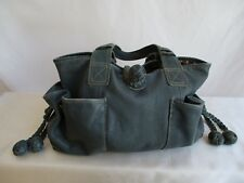 Fossil Leather Satchel Teal Blue Braided Ball Shaped Details Cloth Dotted Inside