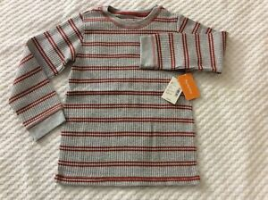 Boys' Size 5T Gray & Red Striped Long Sleeve Shirt by Gymboree.  NEW WITH TAGS!