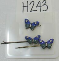 Details about  /VINTAGE METAL DRAGONFLY BOBBY PINS 2 HAIR BARRETTE UP DO ACCESSORY